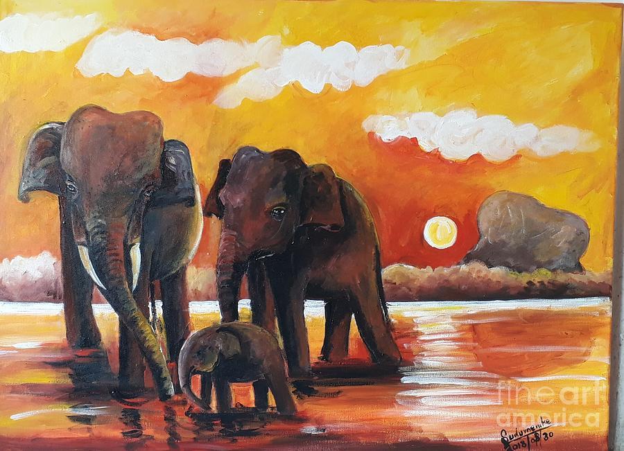 Animal Painting - Near The Sigiriya by Sudumenike Wijesooriya