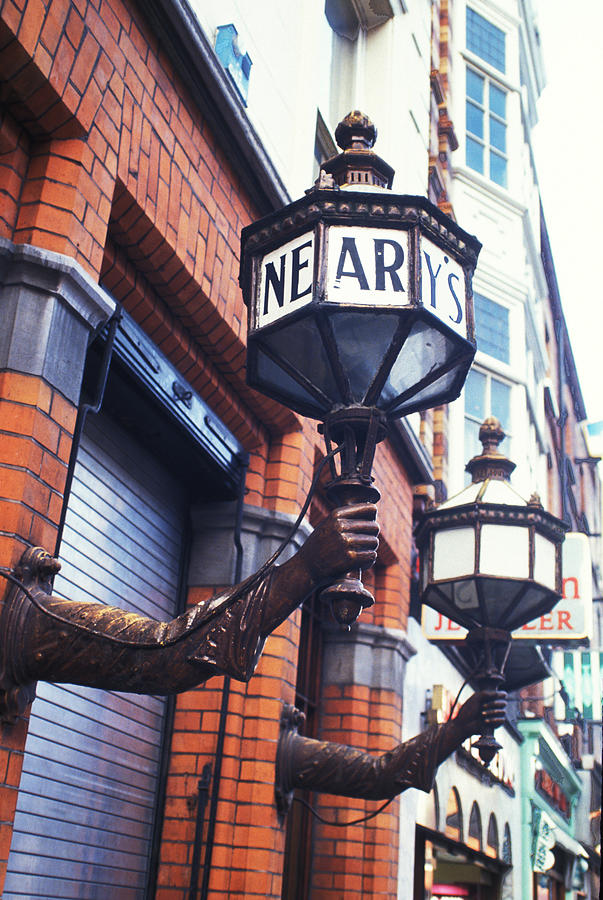 Lamps Photograph - Nearys Pub by Carl Purcell