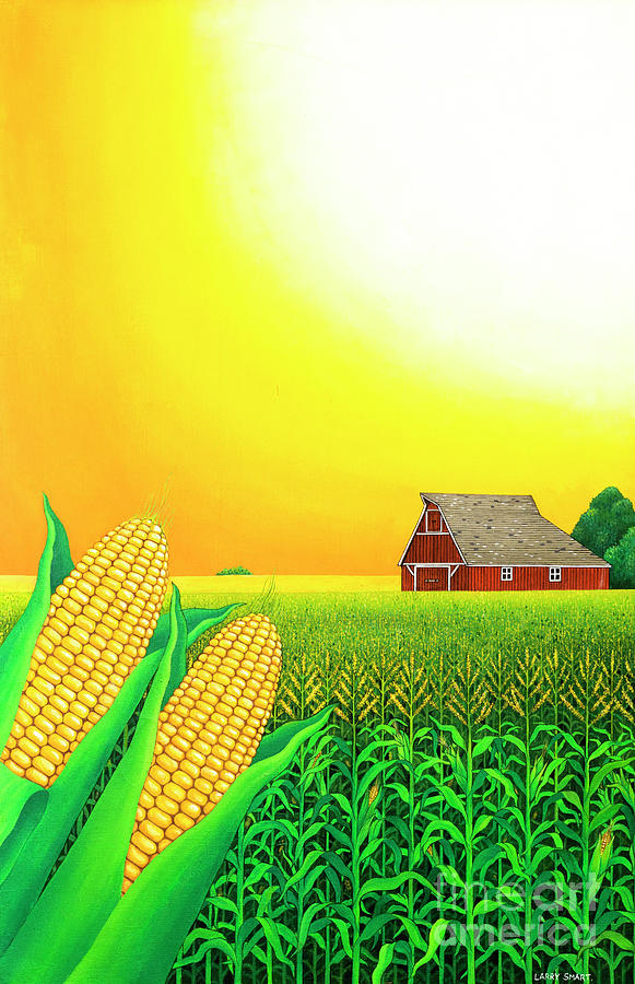 Husk Painting - Nebraska Cornfield by Larry Smart