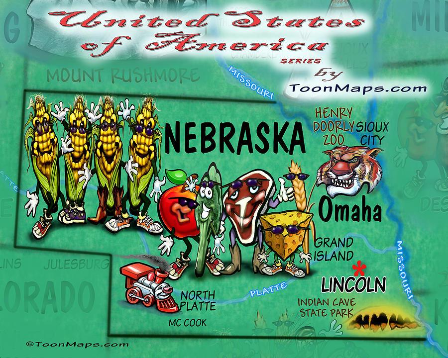Nebraska Fun Map Digital Art