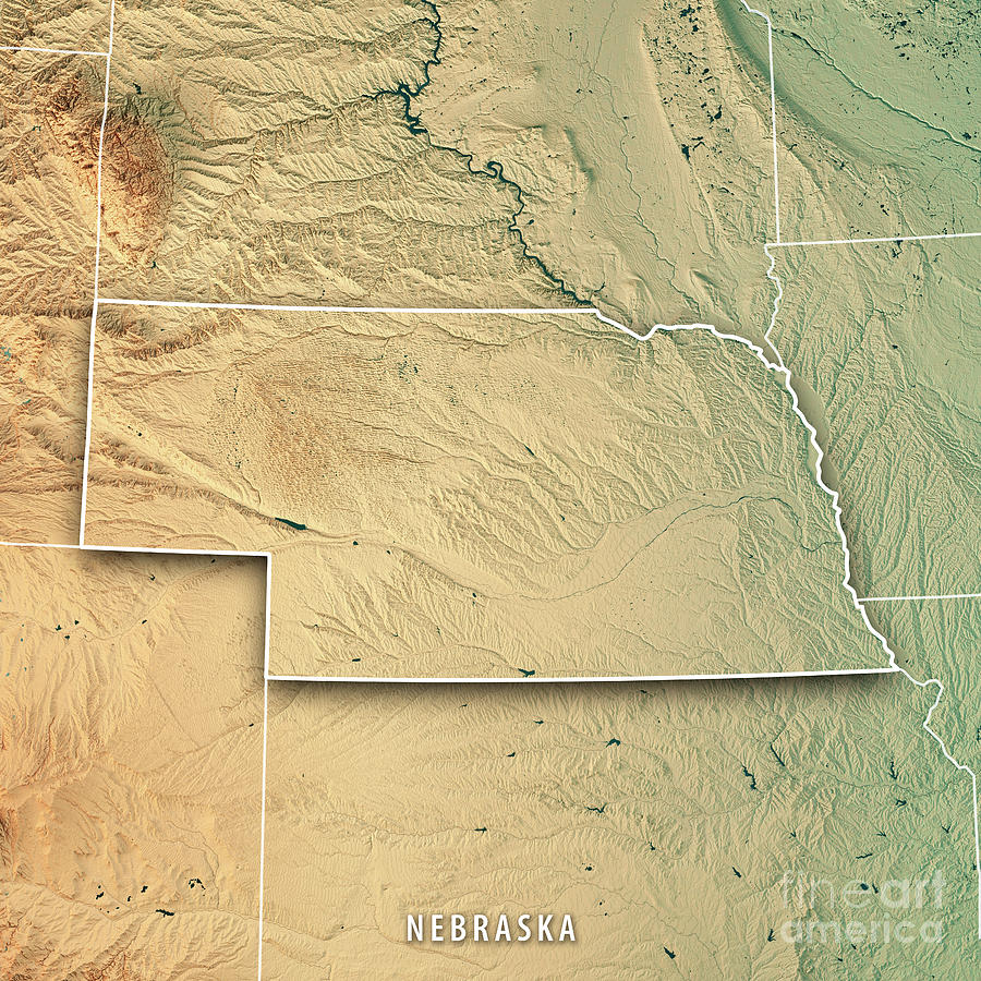 Nebraska State Usa 3d Render Topographic Map Border Digital Art By