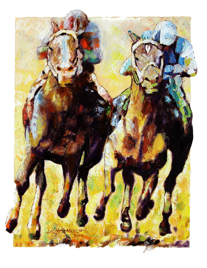 Horse Race Painting - Neck and Neck by John Lautermilch