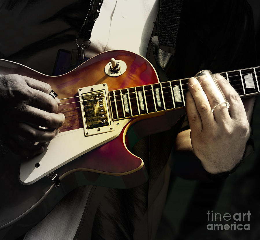 Guitar Photograph - Necking The Blues by Steven Digman