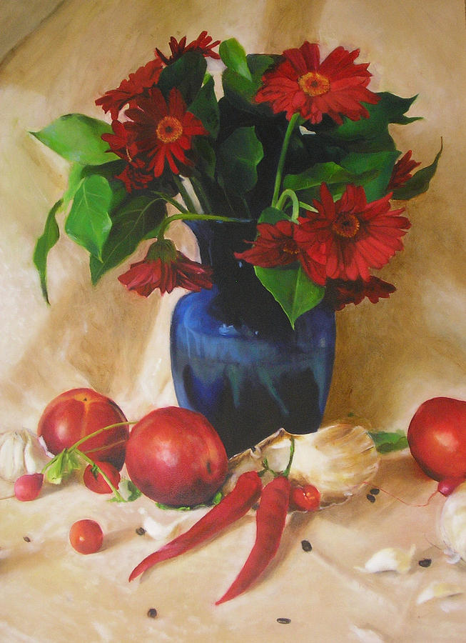 Still Life Painting - Nectarines    by Sara  Elizabeth Gregory