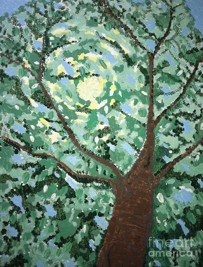Sun Through Trees Painting - Neds Garden The Right Tree by Dana Peters-Colley