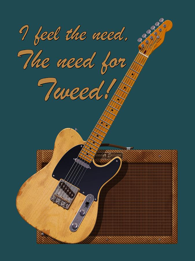 T�l� Digital Art - Need For Tweed Tele T Shirt by WB Johnston