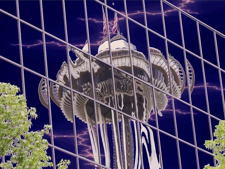 Seattle Digital Art - Needle Reflection by Tim Allen