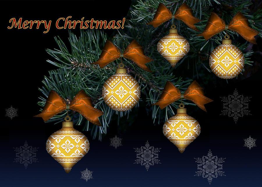 Needlework Mixed Media - Needlework Christmas Ornaments II by Stoyanka Ivanova