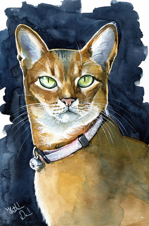 Cat Breeds Painting - Nefertiti - Abyssinian Cat Portrait by Dora Hathazi Mendes