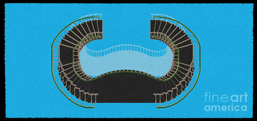 Spiral Digital Art - Negative Stair 45 Blue Background Architect Architecture by Drawspots Illustrations