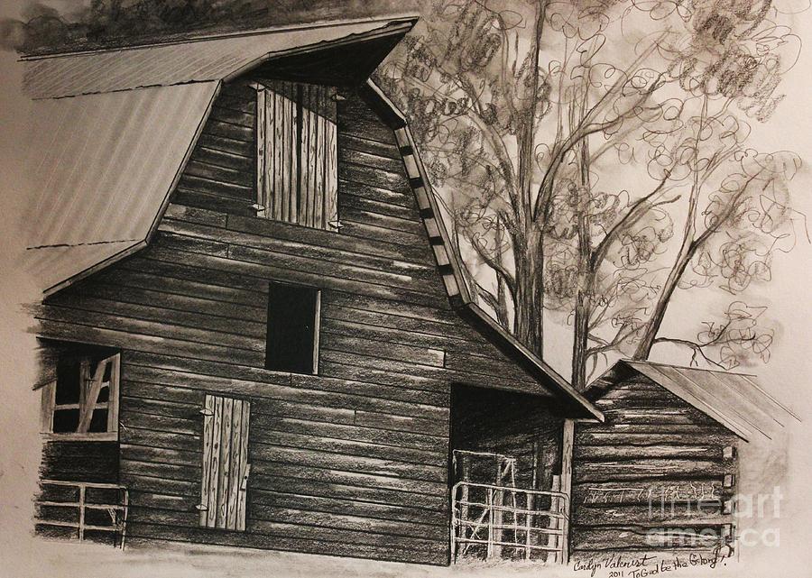 Neighborhood Barn Drawing By Carolyn Valcourt
