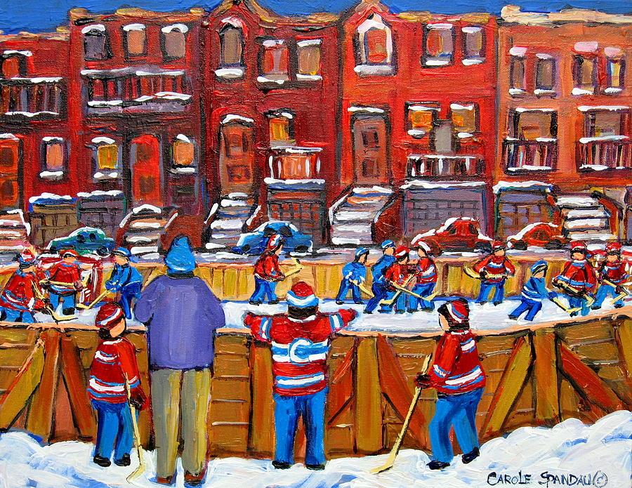 Montreal Painting - Neighborhood  Hockey Rink by Carole Spandau