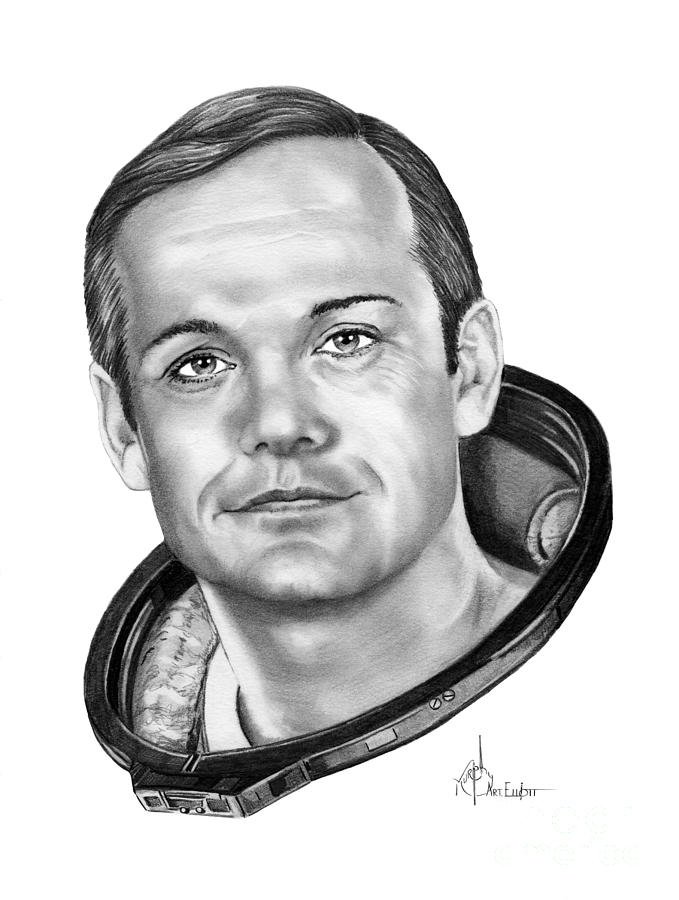 Neil Armstrong Drawing By Murphy Elliott