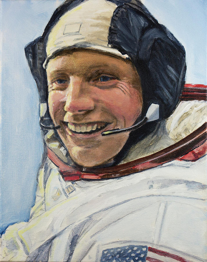 Neil Armstrong Painting by Simon Kregar