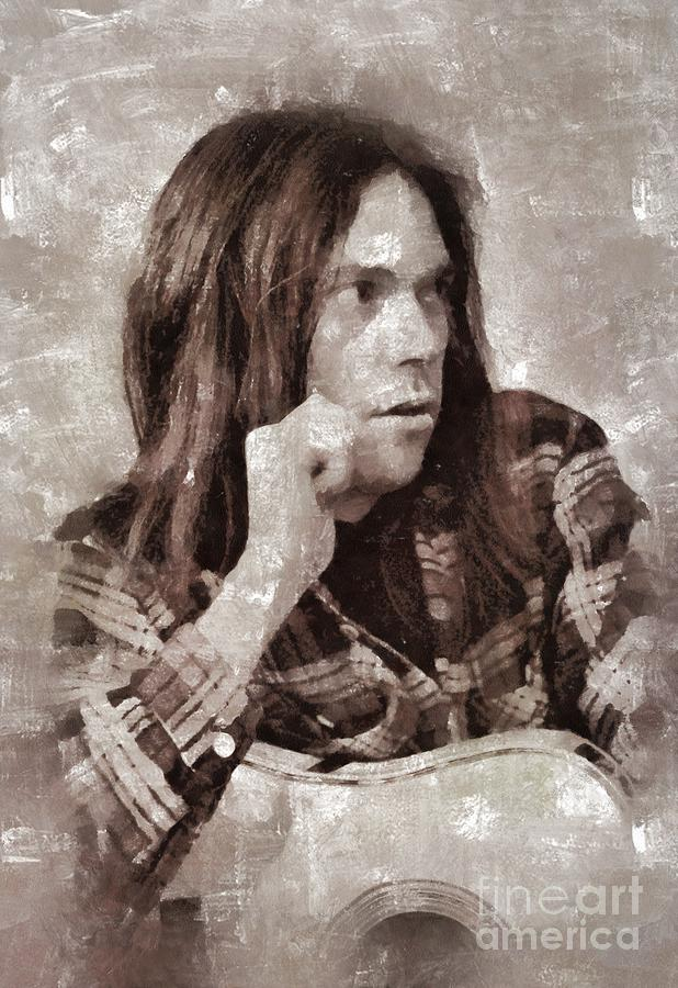 Hollywood Painting - Neil Young By Mary Bassett by Mary Bassett