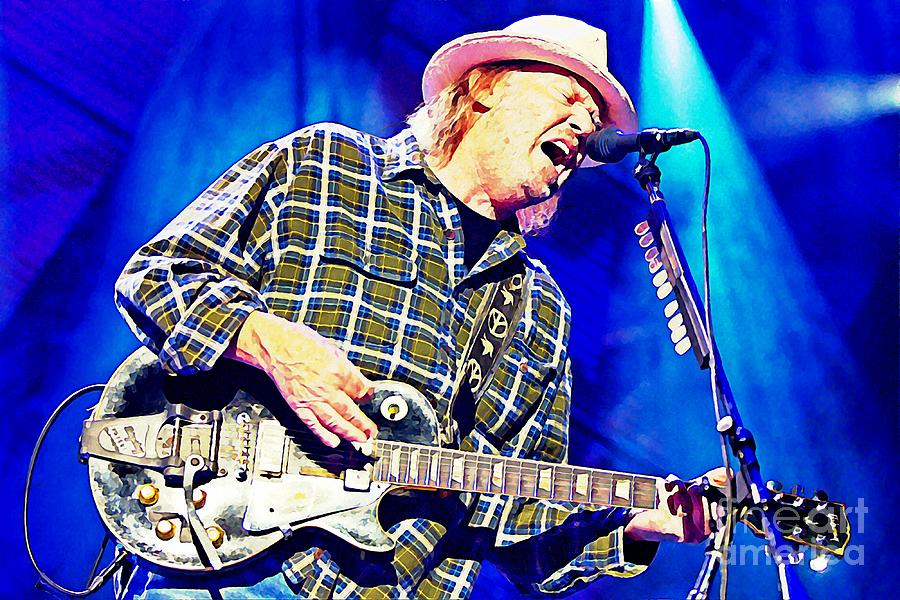 Neil Young In Concert Painting - Neil Young In Concert by John Malone