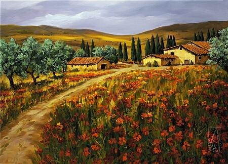 Vineyard Painting - Nella Campagna Dello Toscano by Tim Howe