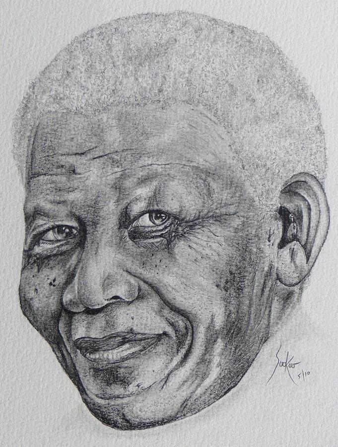 Nelson Mandela Portrait Drawing - Nelson Mandela by Stephen Sookoo