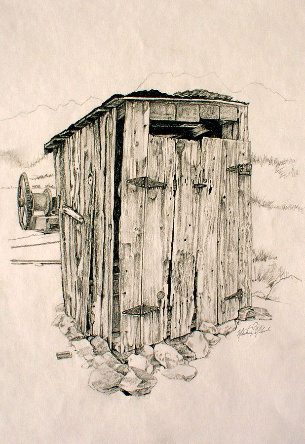 Nelson Drawing - Nelson Outhouse by Matthew Milone