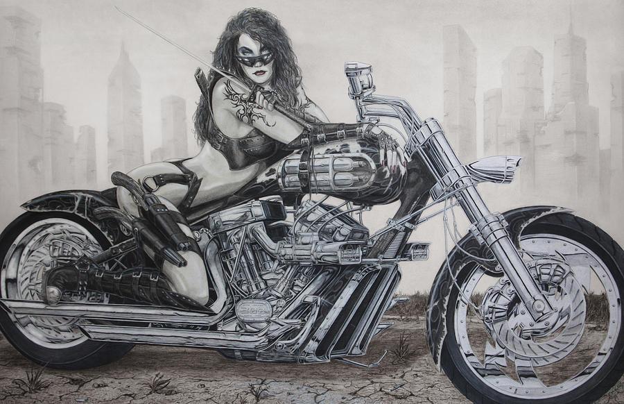 Bike Drawing - Nemesis by Kristopher VonKaufman