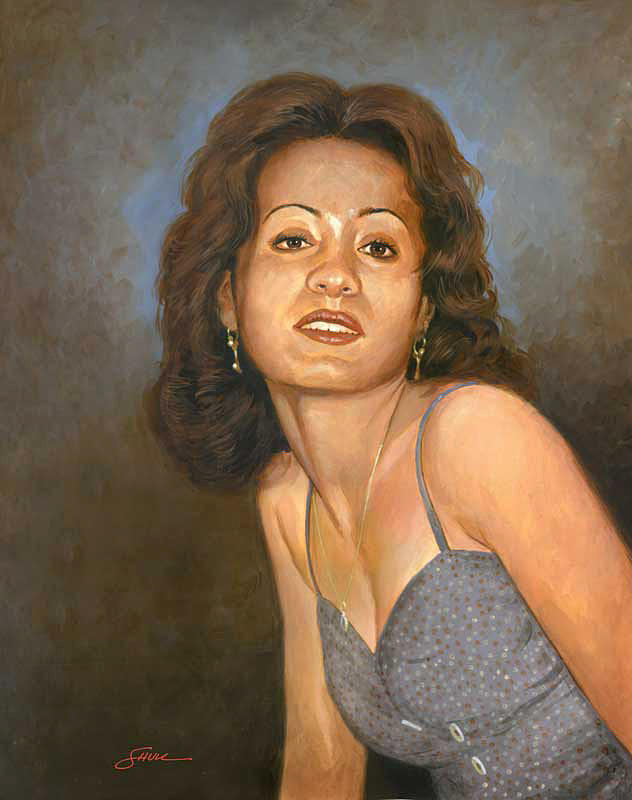 Portrait Painting - Nemours wife by Harold Shull