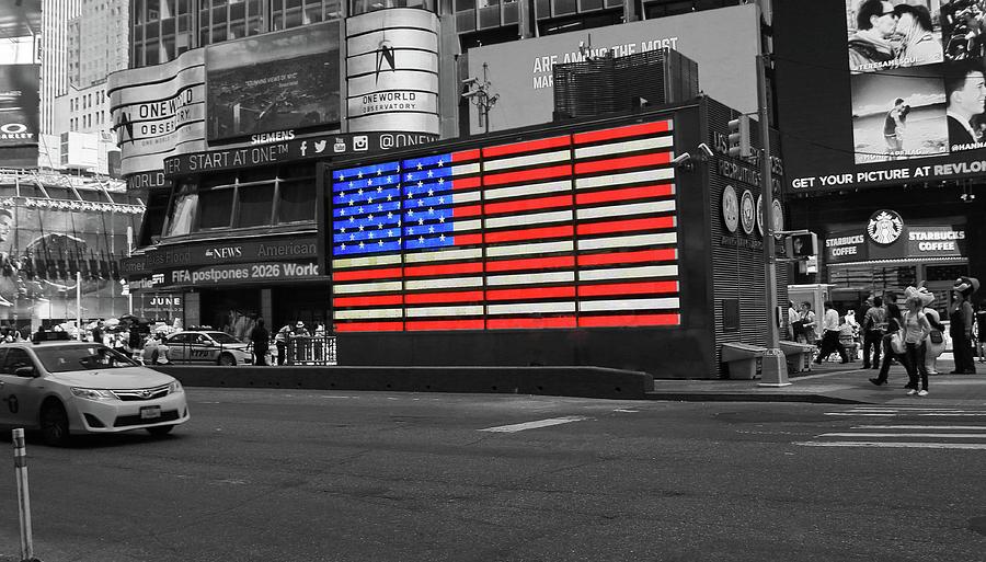 Neon American Flag Photograph