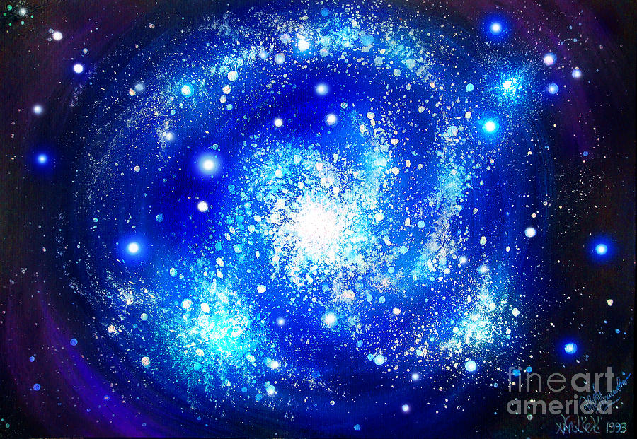 Neon Blue Galaxy Bright Stars Painting By Sofia Metal Queen