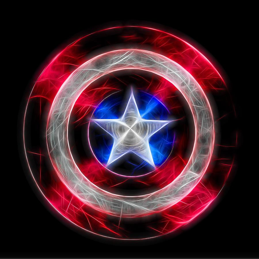 Neon Captain America Shield Digital Art
