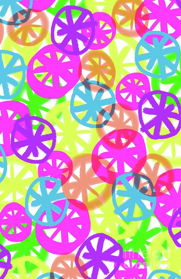 Neon Digital Art - Neon Circles by Louisa Knight
