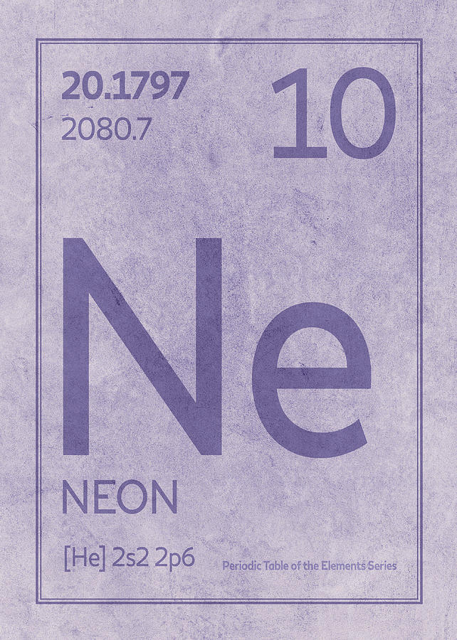 Neon Element Symbol Periodic Table Series 010 Mixed Media By Design