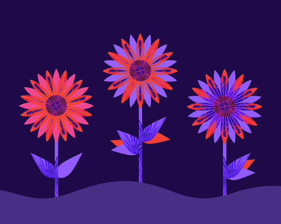 neon flower garden digital art by frodomixa studio