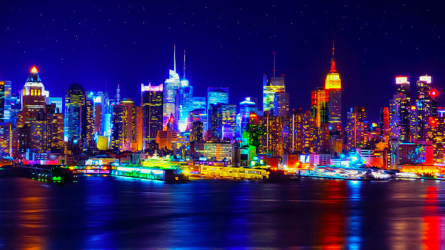 New york skyline art photograph by ron fleishman neon new york skyline art photograph by ron fleishman voltagebd Image collections