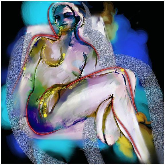 Figurative Painting Digital Art - Neon Nude 1 by Linda Levy