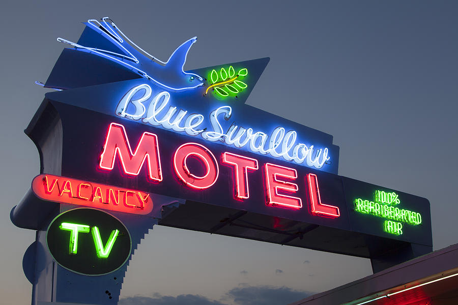 Blue Swallow Photograph - Neon of the Blue Swallow Motel  by Rick Pisio