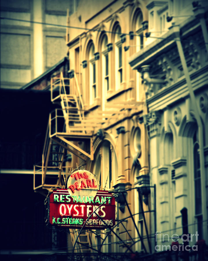 New Orleans Photograph - Neon Oysters Sign by Perry Webster