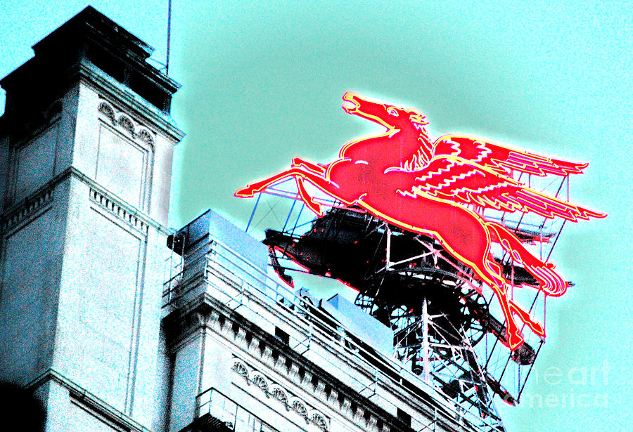 Dallas Photograph - Neon Pegasus Atop Magnolia Building In Dallas Texas by Shawn OBrien