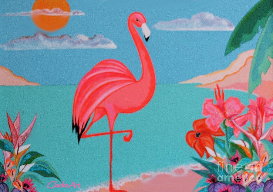 Beach Houses Painting - Neon Island Flamingo by Jean Clarke