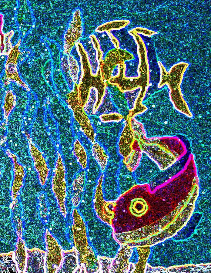 Neon Digital Art - Neon Sea  by Jeanette Lindblad