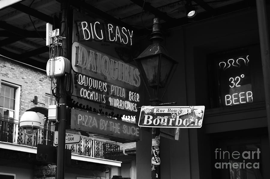 New orleans photograph neon sign on bourbon street corner french quarter new orleans black and