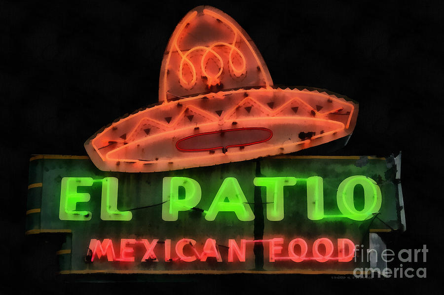 Neon Painting - Neon Sign Series Mexican Food Austin Texas by Edward Fielding