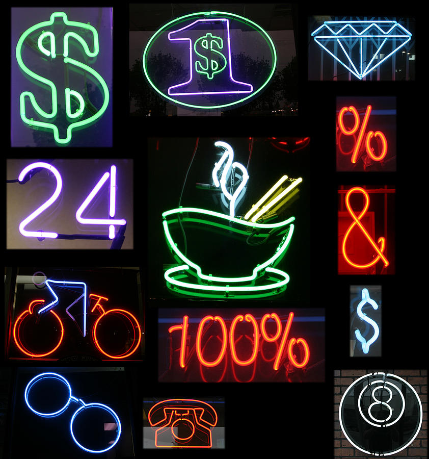 10th Framed Prints Photograph - Neon Sign Series Of Various Symbols by Michael Ledray