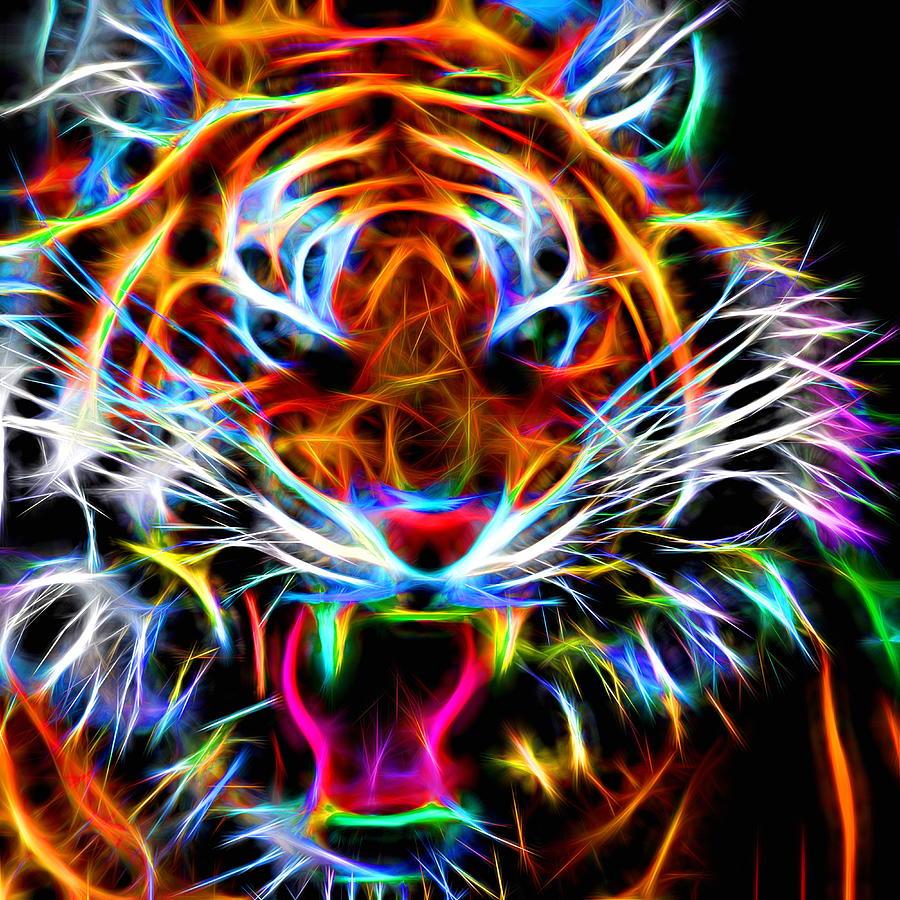 Tiger Digital Art - Neon Tiger by Andreas Thust