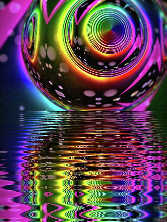 Neon Digital Art - Neon Vortex Horizon by Geometric Electric