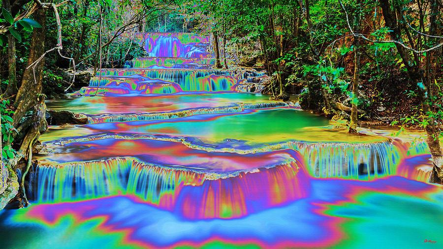 Water Digital Art - Neon Waterfalls by Gregory Murray