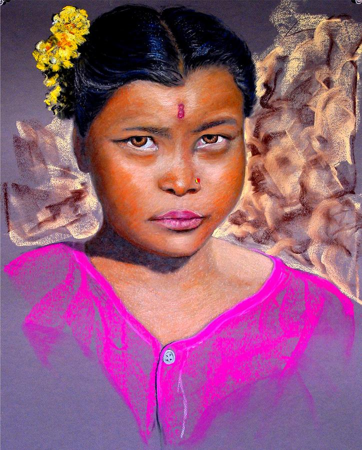 Nepal Painting - Nepalese Girl by David  Horning