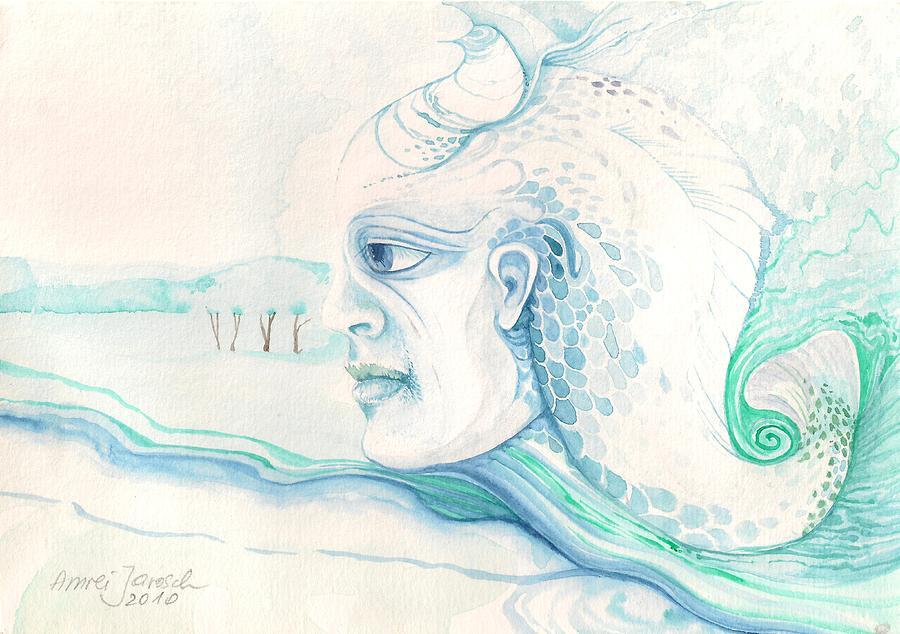 Neptune Painting by Amrei Al-Tobaishi-Jarosch