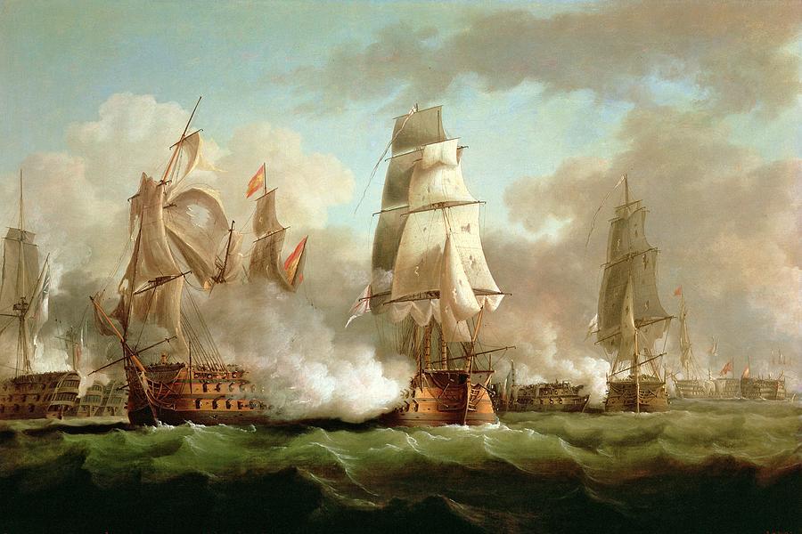 Neptune Painting - Neptune Engaging Trafalgar by J Francis Sartorius