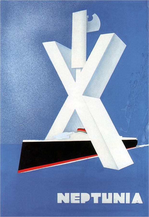 Neptunia - Steamliner Ship - Minimalist Poster - Vintage Advertising Poster - Blue Painting
