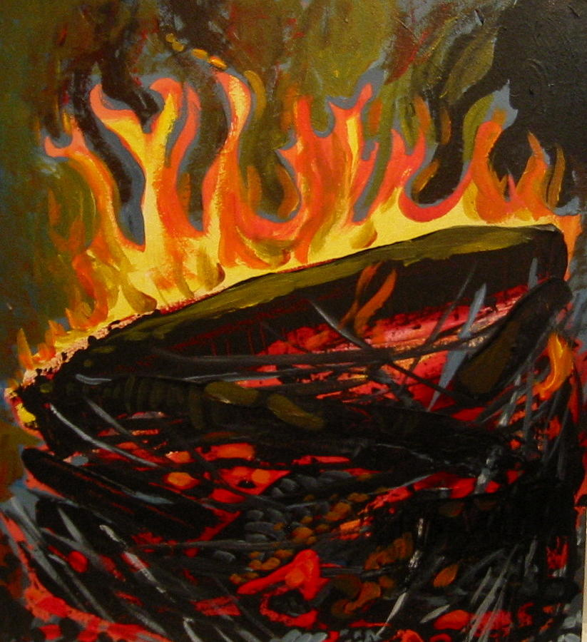 Nest Painting - Nest On Fire by Tilly Strauss
