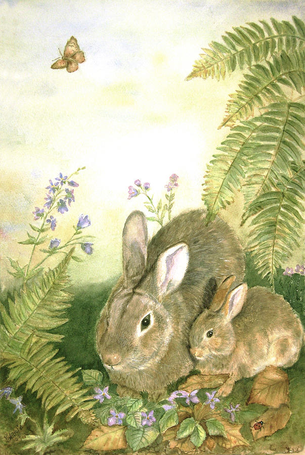 Bunnies Painting - Nesting Bunnies by Patricia Pushaw